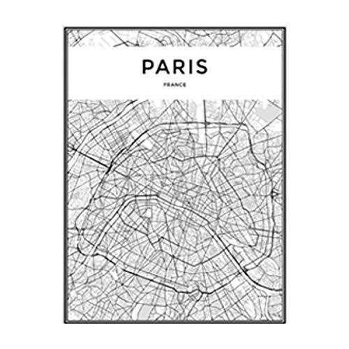 NBHHDH Bilder Auf Leinwand Moderne Schwarzweiss-Paris-Stadtkarten-Reise-Kontur-Karten-Bilder-Leinwand-Malerei-Plakat-Druck-Wand-Kunst-Ausgangsdekoration, 60 × 80Cm Kein Rahmen -