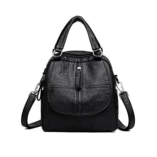 Damen Rucksack, ELIMPAUL Soft PU Leder Rucksack + Handtasche + Schultertasche All in One Multifunktions Rucksack 2st