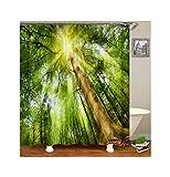Daesar 3D Duschvorhang Antischimmel Wald Lebensbaum Vintage Duschvorhang aus Polyester-Stoff 120x180CM