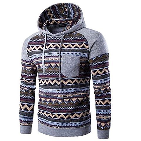 Sweater Longra® Men Retro Unique Pattern Splice Sweatshirt Jacket Coat ! Long Sleeve Hooded ! (M-2XL) (Gray, M)