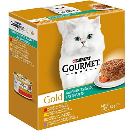 Gourmet Gold Raffiniertes Ragout mit Rind & Tomaten, Huhn & Karotten, Truthahn & Spinat, Lamm & grüne Bohnen, Katzennassfutter,  16er Pack (2 x (8 x 85 g), Dose - Gourmet-8