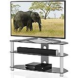 Fitueyes Support de télévision en verre de 3 niveaux Ensemble d'étagères A / V Ensemble d'étagères de 37 à 60 pouces, TV LCD, gris 1200 mm Largeur TS312001GGUK