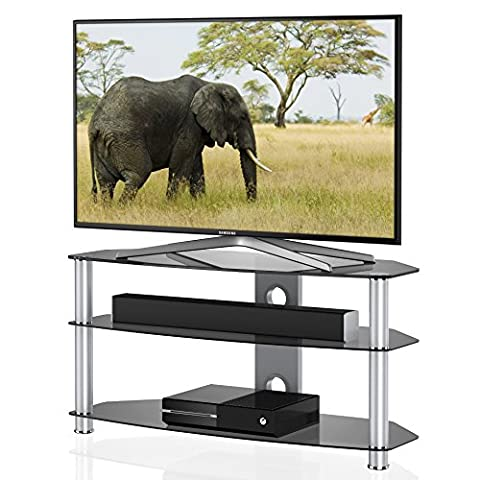 Fitueyes 3 Tiers Glass TV Stand A/V Component Shelf suits