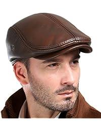VEMOLLA Bonnet Pour Homme En Cuir Véritable De Vache Béret De Chasse Casquette De Camionneur Chapeau De Sports Pour Hommes
