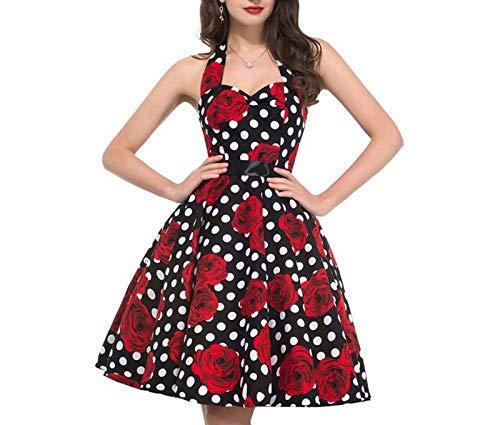 HELULYQ Retro Weiß Polka Dot Kleid Sommer Robe Femme Vintage Pin Kleider S A5 -