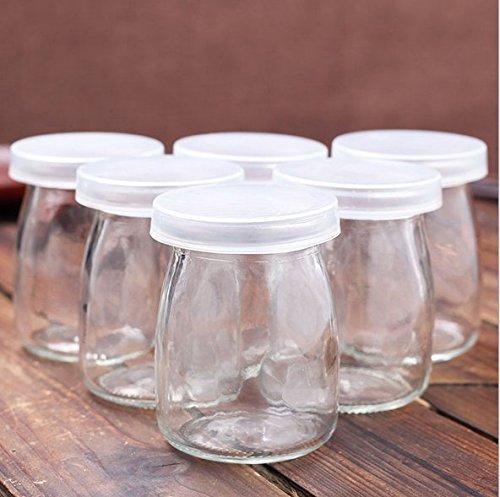 Astra Shop Joghurtglas Pudding Topf mit Deckel (3oz) 1Set (6jars) Ersatz Gläsern für Joghurt Maker - - 3-cup Ersatz-glas