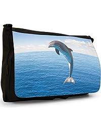 Preisvergleich für Delfine Große Messenger- / Laptop- / Schultasche Schultertasche aus schwarzem Canvas