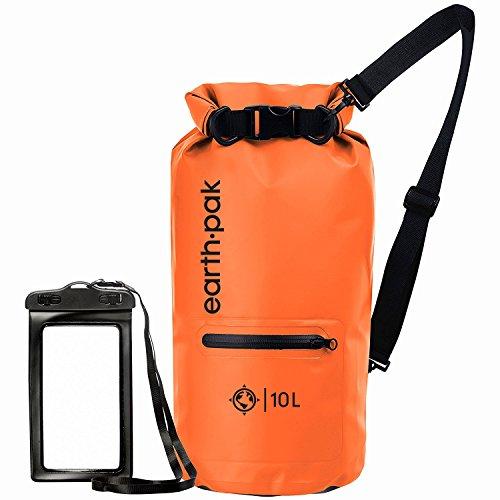 Earth Pak Bolsa Seca Impermeable de Serie Torrent para Kayak, canotaje, Senderismo, Camping y Pesca con Estuche para teléfono a Prueba de Agua 40L Naranja