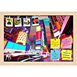 ArtzFolio Times Square in Manhattan, New York, USA 1 Printed Bulletin Board Notice Pin Board cum Natural Brown Framed Painting 17.5 x 12inch