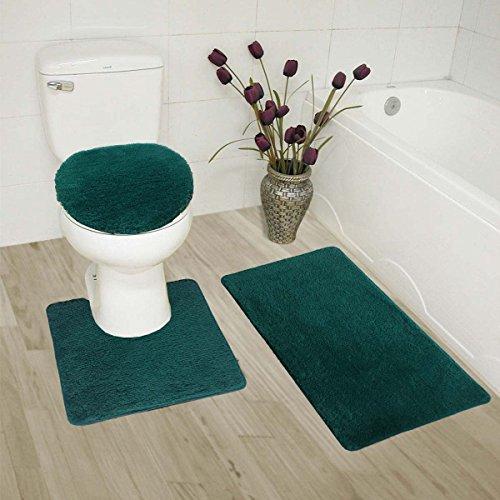 MK Home Collection 3-teiliges Badezimmerteppich-Set, Badematte, Konturmatte und Deckelbezug, rutschfeste Gummiunterseite, massiv Hunter Green - Hunter Green-zubehör