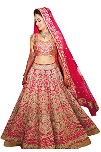 Fabron Pink designer embroidred lehenga choli with matching dupatta for woman.