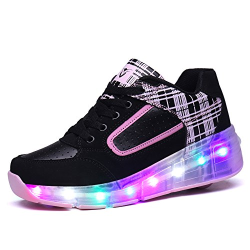 HUSK'SWARE Baskets Enfants LED Chaussures Lumineuse À Roulettes Garçons Filles Sneakers Avec Roues Automatique De Patinage Chaussures avec Roues Easter Day Noir-Rose