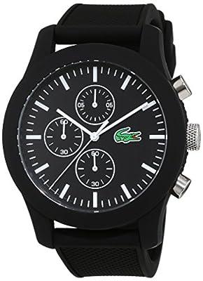 Lacoste 2010821 - Reloj analógico de pulsera para hombre, esfera con cronógrafo, correa de silicona,Negro de Lacoste