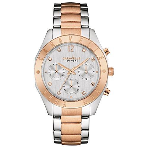 Caravelle New York Damen-Armbanduhr Chronograph Quarz Edelstahl 45L156 Damen-boyfriend-uhr-gold