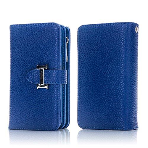 Hülle für iPhone 7 plus , Schutzhülle Für IPhone 7 Plus, Solid Color Litchi Skin PU Leder Magnetische Verschluss Pattern Schutzhülle mit Card Slots & Zipper Pouch & Abnehmbare Back Cover ,hülle für iP Blue