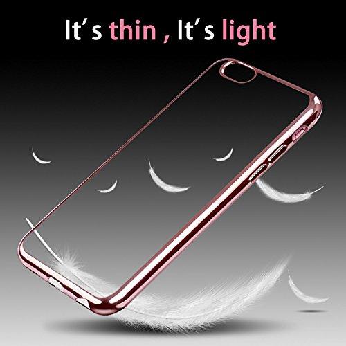 Iphone 6 Hülle, weiche TPU Silkon Schutzhülle mit der Grenze von der Farbe der Galvanik, für Iphone 6 6s Hülle -- Silber Rose Gold
