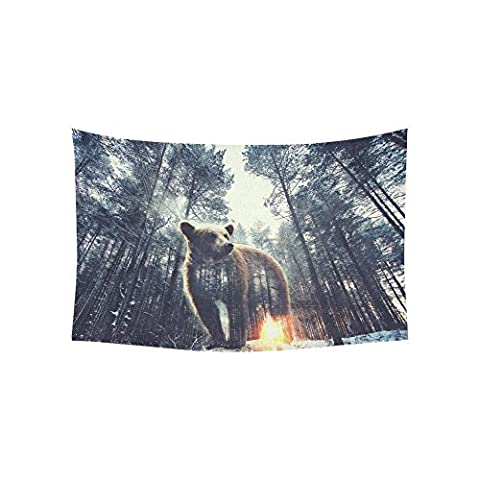 Wall Tapestry Bear And Pine Forest At Sunset Cotton Linen