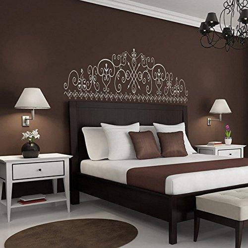 Cama Decoración barroco flores estilo cabecero de cama adhesivo decorativo para pared vinilo adhesivo para pared los tacos (Reina, blanco)