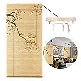 GDMING Tenda avvolgibile in bambù, Decorazione rétro per Finestra, Porta, Protezione Antivento, Balcone e terrazza, 2 Stili, Dimensioni Personalizzabili, bambù, A, 60X160CM/24X62IN