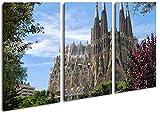 La Catedral Sagrada Familia en Barcelona como Lienzo, diseño enmarcado en marco de madera, impresión digital de alta calidad con marco, no es un póster o cartel, lona, Dreiteilig (120x80)