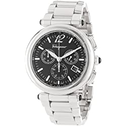 Salvatore Ferragamo Men's F77LCQ9909 S099 Poema Polished Stainless Steel Black Chronograph Date Watch