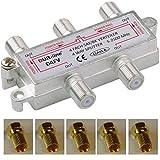 SAT & BK-Verteiler - 4-fach Splitter - voll geschirmt - unicable & HD tauglich DUR-line D2FV - Verteiler für Satelliten-Anlagen(DVB-S2) - BK - UKW Radio - DC-Durchlass inkl. 5 Stück F-Stecker