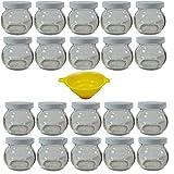 Viva-Haushaltswaren 20 Einmachgläser mit Schraubdeckel in weiß 106ml kugelförmig inkl. Einfülltrichter