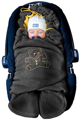 """ByBoom - Baby Winter-Einschlagdecke \""""Das Original mit dem Bären\"""", Universal für Babyschale, Autositz, z.B. für Maxi-Cosi, Römer, für Kinderwagen, Buggy oder Babybett, Farbe:Anthrazit/Orange"""