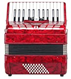"""Classic Cantabile 48-bass accordion \""""\""""Secondo III\""""\"""" red SET incl. Music stand"""