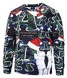Pizoff Unisex Hip Hop Sweatshirts mit 3D Weihnachten Christmas Druck Eisbär Baby und Weinachtsbaum Y1907-04-M
