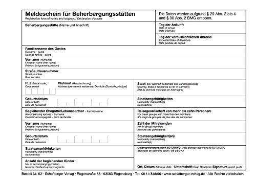 Meldeschein für Beherbergungsstätten DIN A5– alle Bundesländer, neu nach Bundesmeldegesetz – dreisprachig - Block a 100 Blatt
