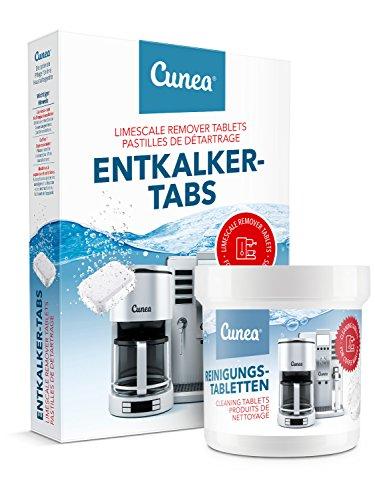 Cunea Reinigungset 20x Entkalkungstabletten & 50x Reinigungstabletten für Kaffeevollautomaten...