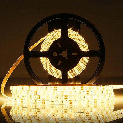 LEDMO Tira led blanco cálido 2700K, Tira led de luz SMD2835-30 0led IP65 impermeable 12V 15Lm/led tira led de alta luminosidad 5m CRI80 de alto rendimiento de color para la iluminación del gabinete de cocina, dormitorio, TV iluminación decorativa