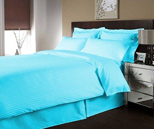 scalabedding 600Fäden/cm² Ägyptische Baumwolle de Luxe Streifen Bettbezug farblich und Decken Kissen komplett-Türkis (Ägyptische Baumwolle Streifen-decke)