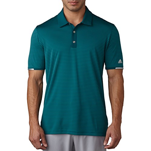 Mens Performance Golf Shirt (Adidas Golf 2017 Climachill™ Tonal Stripe Polo Mens Performance Golf Polo Shirt Rich Green XL)