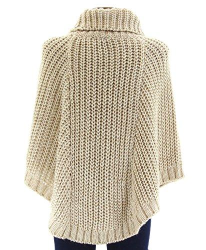 Poncho Pullover Umhang Wolle Alpaka Dick Winter 36/48 ELODIE Frau CharlesElie94 Beige