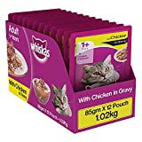 Whiskas Adult (+1 Year) Wet Cat Food Food, Chicken in Gravy, 12 Pouches