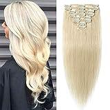 TESS Echthaar Extensions Clip in Weißblond #60 Remy Haar Extensions guenstig Haarverlängerung 18 Clips 8 Tressen Lang Glatt, 14