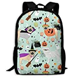 best& Pug Halloween Costume Adult Travel Backpack School Casual Daypack Oxford Outdoor Laptop Bag College Computer Shoulder Bags 11x17x6.3 Inch.