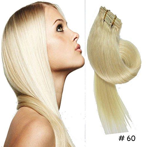 Clip-In-Extensions fuer komplette Haarverlaengerung - hochwertiges Remy-Echthaar -70g -38cm -7tlg 60# Weiss Blonde