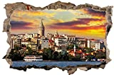 DesFoli Istanbul Skyline Türkei 3D-Optik Wandtattoo 70 x 105 cm Wandbild Sticker Aufkleber D045