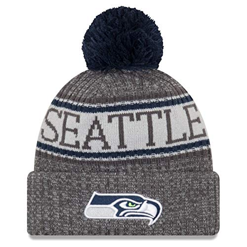 New Era Seattle Seahawks Beanie NFL 2018 Sideline Sport Graphite Knit Navy/Grey - One-Size
