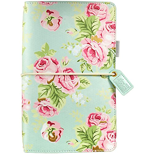 Webster's Pages Travelers Notebook | Functions As A Small Pocket Journal, Travel Diary, Daily Planner, Life Organizer | Mint Floral (TJ001-MF.BW) -