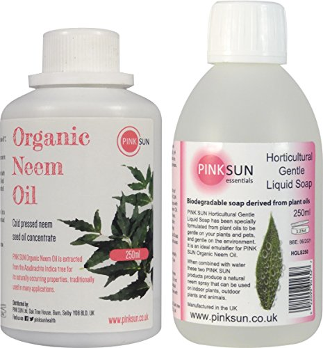 PINK SUN Pure Organic Neem Oil and Horticultural Gentle Liquid Soap Combo Pack 250ml - Plants Pets Animals Insects