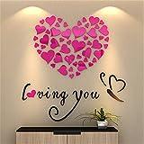 Homebaby Stickers Muraux-Stickers Muraux de Cœur Autocollant Mural de Cœur Stickers Muraux Miroir Amovible Sticker Muraux Miroir (Rose)