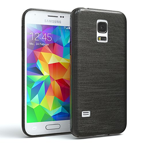 EAZY CASE Hülle für Samsung Galaxy S5 Mini Schutzhülle Silikon, gebürstet, Slimcover in Edelstahl Optik, Handyhülle, TPU Hülle/Soft Case, Backcover, Silikonhülle Brushed, Anthrazit
