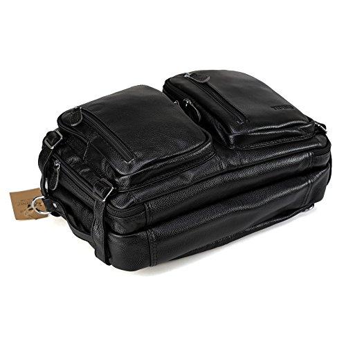 Tiding Herren Echtleder Reisen Duffels Weekender Draussen Gepäck Freizeit Mehrzweck 15 'Laptop Große Kapazität Rucksack Umhängetasche Tasche Kaffee Schwarz
