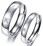 """OPK New Fashion Jewelry Silver """"Your are perfect in my mind"""" With CZ Stone 316 l Stainless Steel Wedding Band/Anniversary/Engagement/Promise/Couple Ring Best Gift!"""