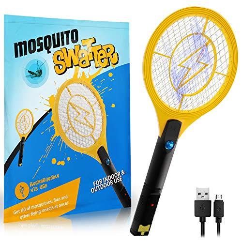 Zenoplige Elektrische Fliegenklatsche,Insektenvernichter Moskito Zapper mit Wiederaufladbarer Akku Insekten Mörder Frei von Giftstoffen und Gerüchen Ideal für Drinnen und Draußen