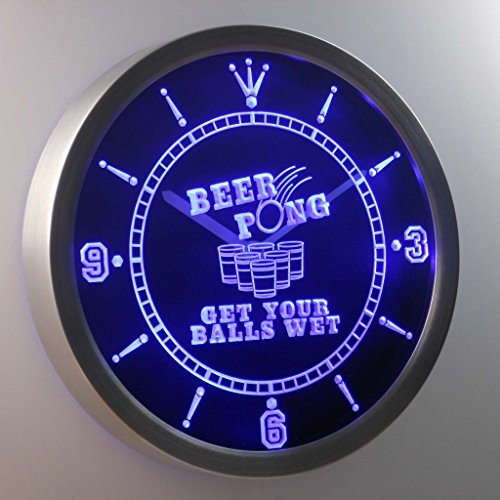 *nc0378-b Beer Pong Get your Balls Wet Bar Neon Sign LED Wall Clock Uhr Leuchtuhr/ Leuchtende Wanduhr*